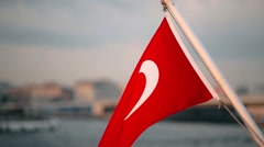 Turkish Flag Waving On The Stern Of An Istanbul Ship At Sunset Stock Footage