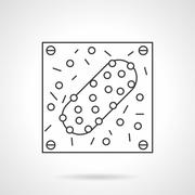 Infectious agent flat line design vector icon Stock Illustration