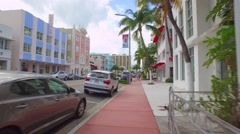 Collins Avenue sidewalk pov Stock Footage