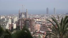 4K Aerial view Sagrada Familia church Barcelona cityscape tourism attraction day Stock Footage