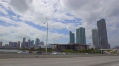 Downtown Miami from Macarthur  Stock Footage