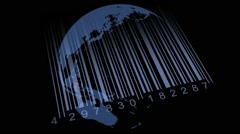 World map barcode. Save the earth, barcode concept Stock Footage