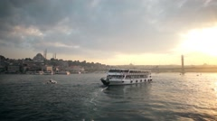 Pleasure boat cruising along coast of Bosporus Sea in Istanbul Turkey Stock Footage