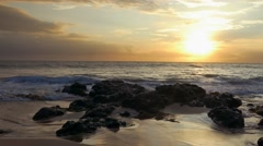 Idyllic Beach Sunset Sky Nature Footage Sea Island Vacation Travel Tourism Stock Footage