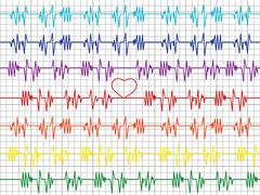 Colorful graphs on the cardiogram tape Stock Illustration