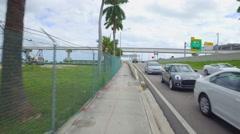 Macarthur Causeway pedestrian path Stock Footage
