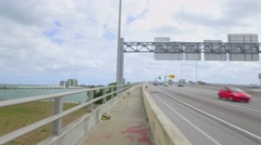 Macarthur Causeway to Downtown Miami Stock Footage