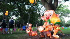 Chinese Monkeys lanterns in Auckland Lantern Festival Stock Footage