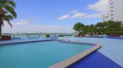 Miami Beach condominium pool deck Stock Footage