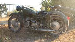Retro Vintage Old Nazi Motorcycle Stock Footage