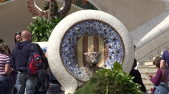 4K Famous Gaudi work dragon fountain mosaic art Barcelona Park Guell emblem day  Stock Footage