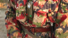 Soldier in Camouflage Uniform with the Machine Gun Stock Footage