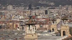 4K Modern traditional architecture Barcelona cityscape famous city skyline day   Stock Footage