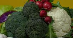 Broccoli, cauliflower and radish, vegetables, close up, dolly on right. Stock Footage