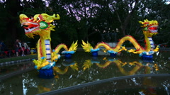 Chinese Dragons lanterns in Auckland Lantern Festival Stock Footage