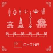 Vector illustration set china buildings pagoda, lantern, flag, fan, flat line Stock Illustration