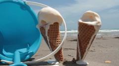 Melting, Dripping, Ice Cream Cones Stock Footage