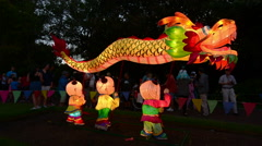 Chinese Dragon lenten in Auckland Lantern Festival Stock Footage