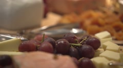 French cheese plate, cheese and frutis and nuts for wine Stock Footage