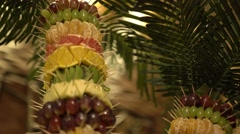 Palm tree sculptur made from fruits Stock Footage