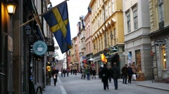 Tourists visiting Gamla Stan, The Old Town of Stockholm, Stockholm, Sweden Stock Footage