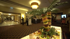 Decorated room and staff waiting for the guests Stock Footage