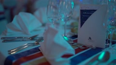 Decorated table, tableware Stock Footage