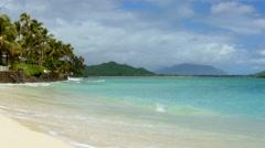 Beautiful Beach Palm Trees Island Sea Sky Nature Idyllic Footage Water Vacation Stock Footage