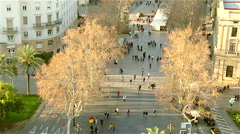 People walking on the street Barcelona Rambla Stock Footage