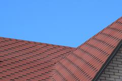 Decorative metal tile on a roof - stock photo