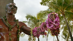 Footage Duke Kahanamoku Statue Hawaii Lei Garland Travel Tourism Famous Honolulu Stock Footage