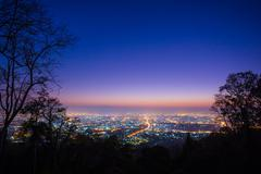 Chiang mai city  Thailand , Landscape view and Twilight scene Stock Photos