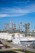 oil and chemical refinery plant - stock photo