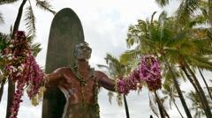 Low Angle Footage Duke Kahanamoku Statue Hawaii Lei Garland Travel Tourism - stock footage