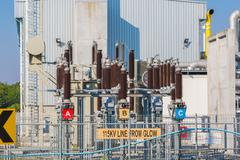 Power station , Out door substation yard - stock photo