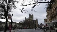 Bath Abbey Establishing shot static, Bath, England, Europe Stock Footage