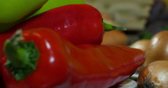 Red and green peppers, extreme close up, vegetables, dolly shot on left Stock Footage