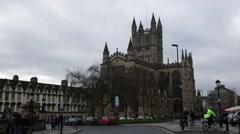 Bath Abbey Establishing shot, Bath, England, Europe Stock Footage