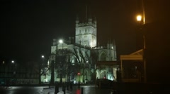 Bath Abbey at night - establishing shot, England, Europe Stock Footage