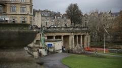Parade Gardens, Bath establishing shot, England, Europe Stock Footage