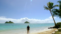 Beach Man Arms Outstretched Tourist Sky Nature Sea Idyllic Travel Footage Island Stock Footage