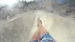 POV Man Going Down Speed Slide At Water Park Stock Footage