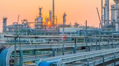 Stock Photo of Evening scene of refinery plant