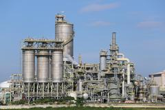 Land scape view of oil refinery plant - stock photo
