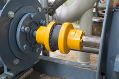 Rubber coupling during motor and pump Stock Photos