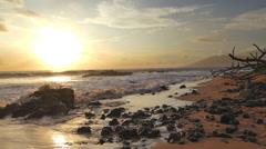 Beach Sunset Island Beautiful Sea Sky Golden Sun Nature Idyllic Footage Water - stock footage