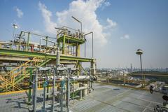 Refinery process area structure - stock photo