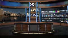 Studio 159 Angle A News Desk with Animated Control Room Stock Footage