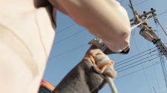 Powerline Workers - stock footage