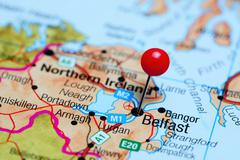Belfast pinned on a map of Northern Ireland Stock Photos